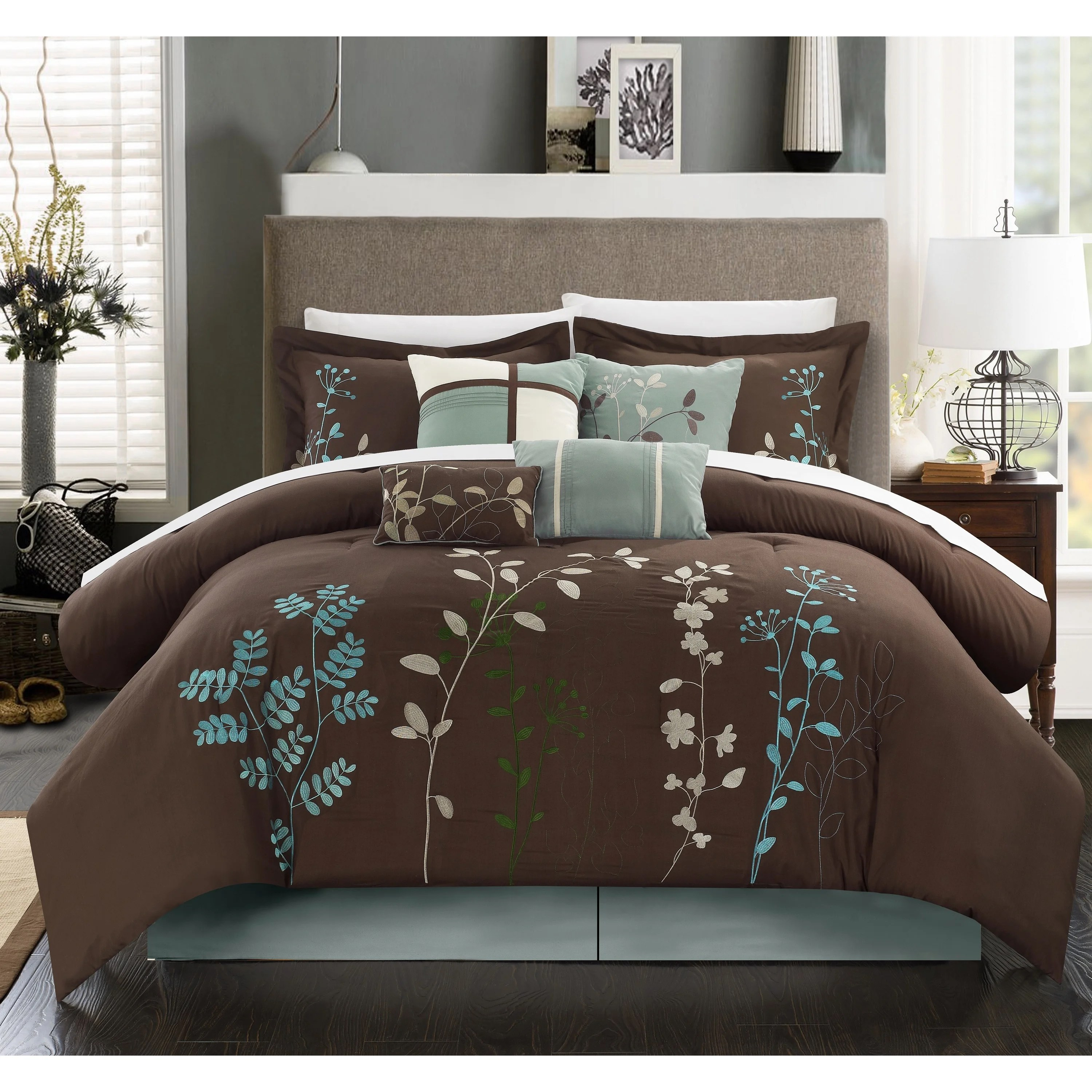 Shop Bliss Garden Chocolate Brown 12 Piece Bed In A Bag
