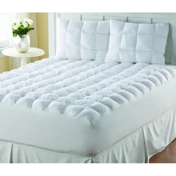 Supreme Loft Cloud Down Alternative White Cotton Mattress Pad