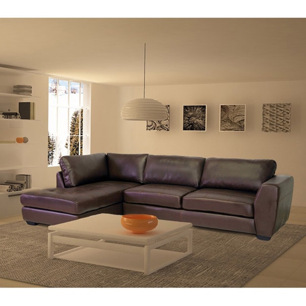 Orland Brown Leather Modern Sectional Sofa Set With Left Facing : left facing sectional sofa - Sectionals, Sofas & Couches