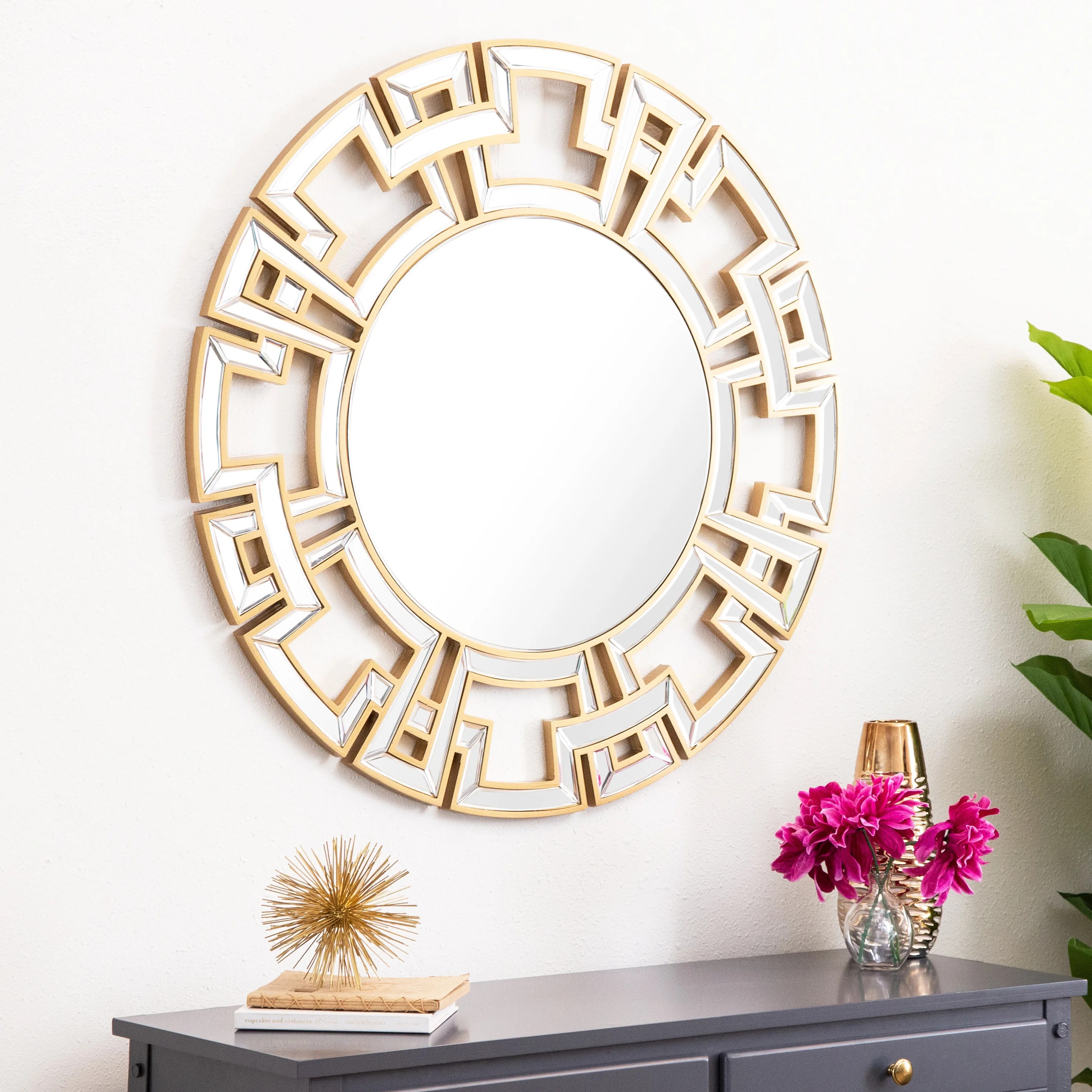 Abbyson Pierre Gold Round Wall Mirror On Sale Overstock 7315968