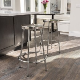 Mayworth Chrome 19-inch Barstool (Set of 2) by Christopher Knight Home