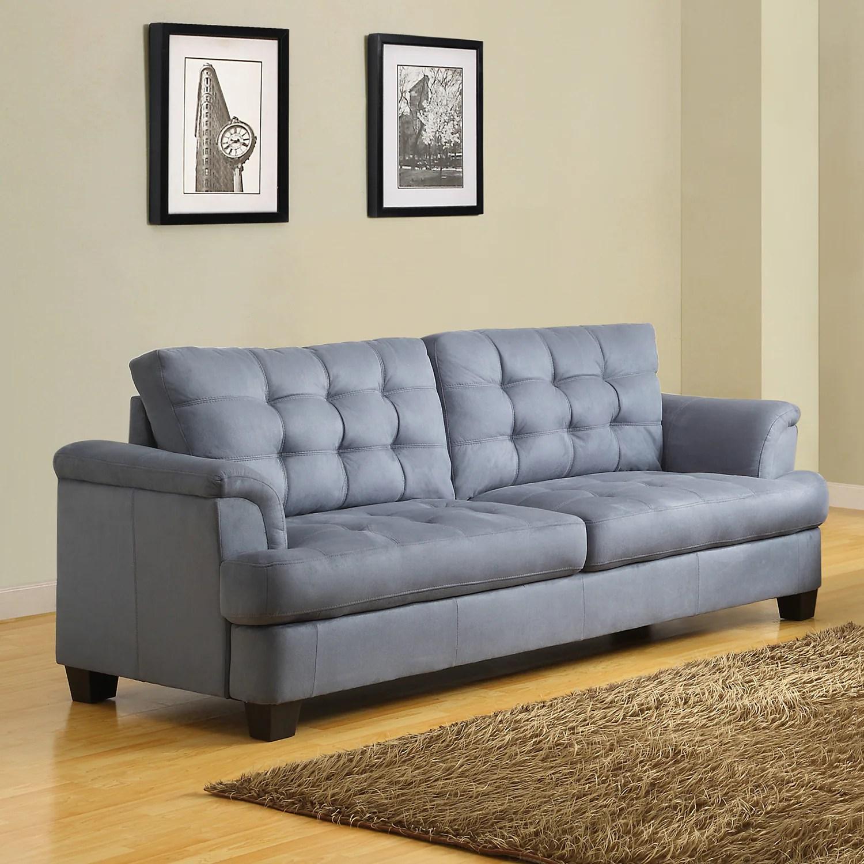 Shop Black Friday Deals On Rosalie Grey Blue Tone Microfiber Tufted Modern Sofa Overstock 7341092