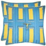 Shop Safavieh Nador 20 Inch Aqua Blue Yellow Decorative Pillows Set Of 2 On Sale Overstock 7576471