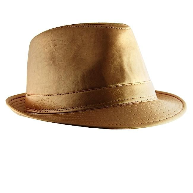 H2W Mens Gold Faux Leather Fedora Hat Overstock