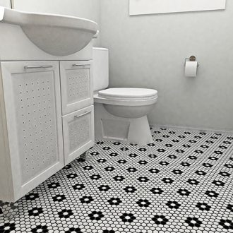 Shop SomerTile 10 25x11 75 inch Victorian Hex White with Flower     SomerTile 10 25x11 75 inch Victorian Hex White with Flower Porcelain Mosaic  Floor and