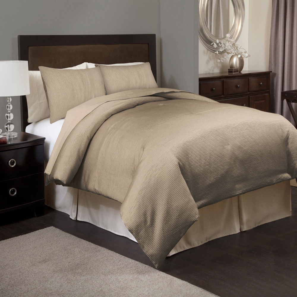 lush decor channel taupe 3 piece comforter set beige