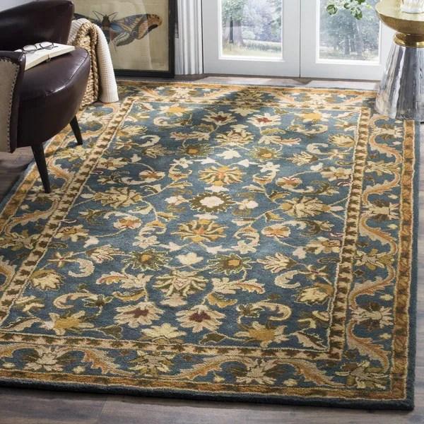 Safavieh Handmade Exquisite Blue Gold Wool Rug 9 X 12