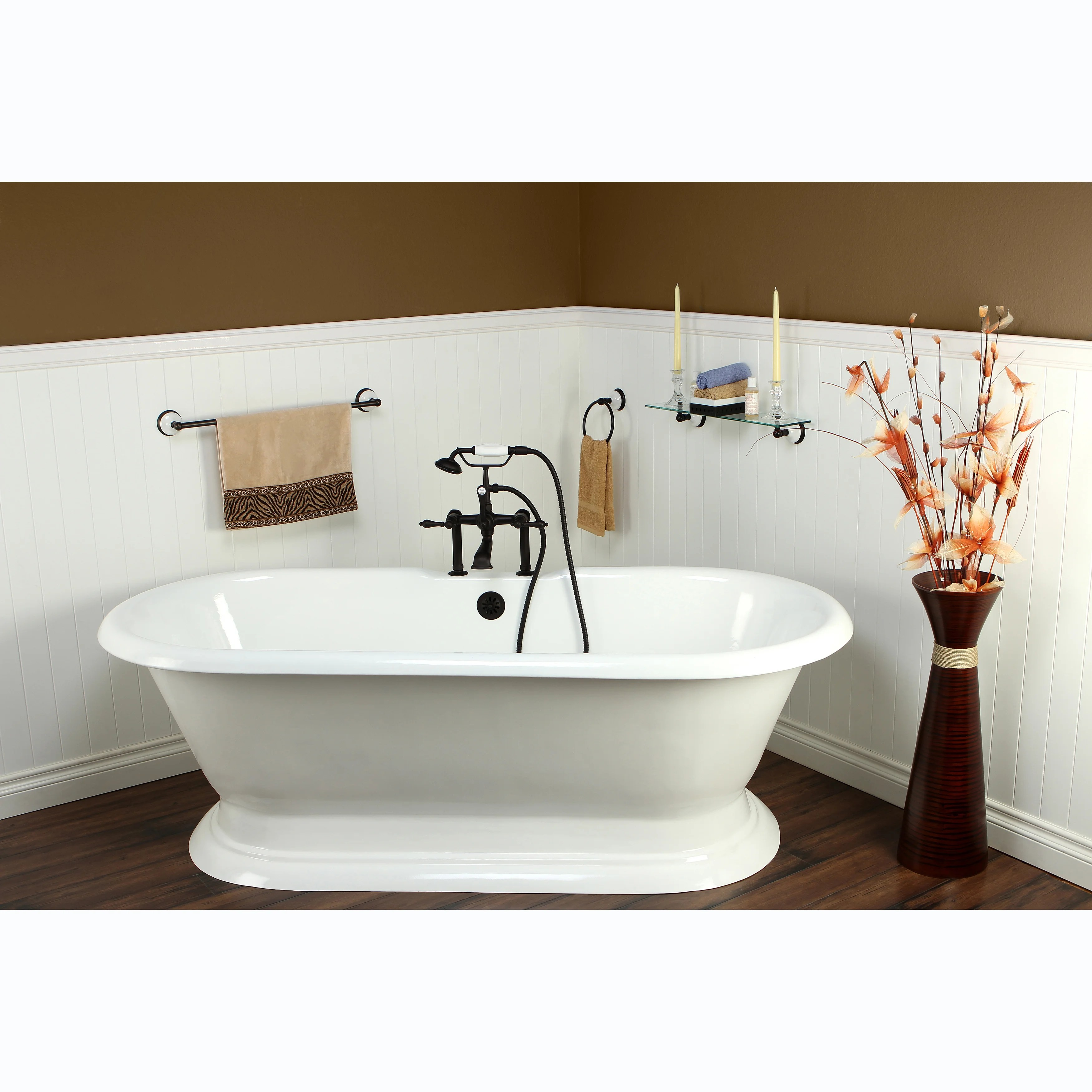Shop Double Ended Cast Iron 72 Inch Pedestal Bathtub With 7 Inch Drillings Overstock 7726356