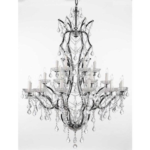 Gallery Rococo 19th C 25 Light Black Wrought Iron And Crystal Chandelier