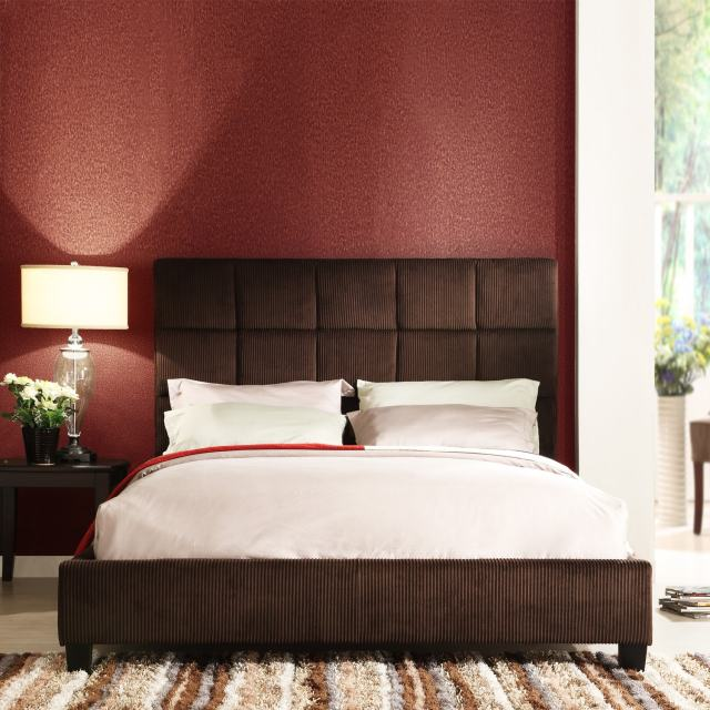 Sarajevo Chocolate Corduroy Queen size Bed Free Shipping Today
