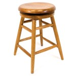 Solid Medium Oak Backless Saddle Swivel 24 Inch Counter Height Barstool Overstock 7941915