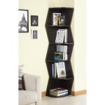 Furniture Of America Waverly Modern Walnut 6 Tier Corner Bookcase Display Cabinet