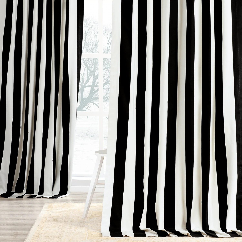 exclusive fabrics cabana black stripe cotton curtain panel