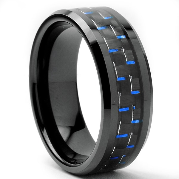 Tungsten Carbide Mens Black And Blue Carbon Fiber Inlay