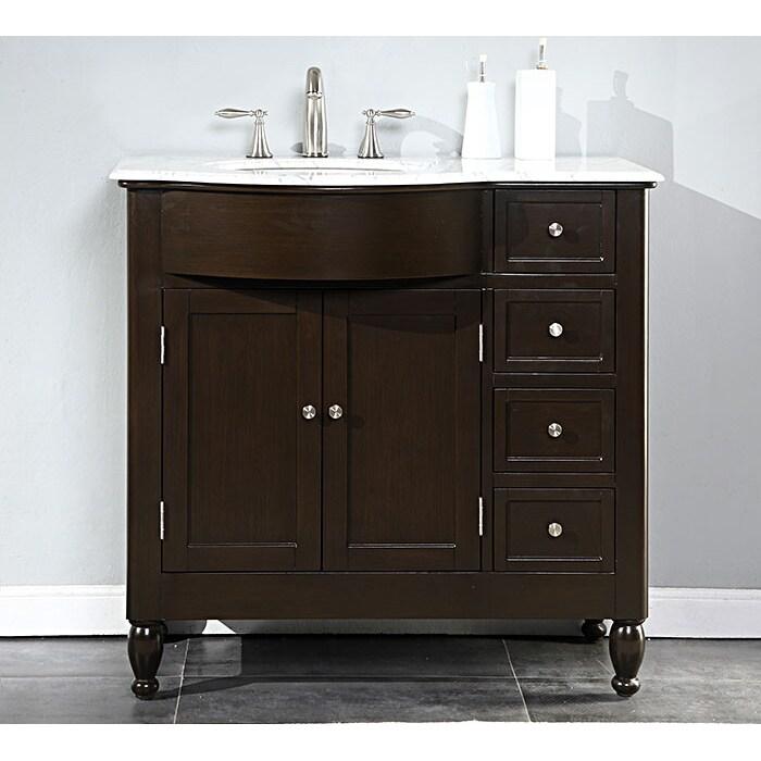 silkroad exclusive 38 inch carrara white marble stone top bathroom off center single sink vanity left