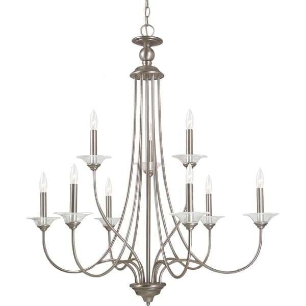 Good Lemont Light Antique Brushed Nickel Candelabra Chandelier With Clear Glass Bobeches Vintage Omaha