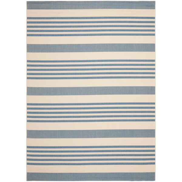 Safavieh Courtyard Stripe Beige Blue Indoor Outdoor Rug 9 X 12 Free Shipping Today