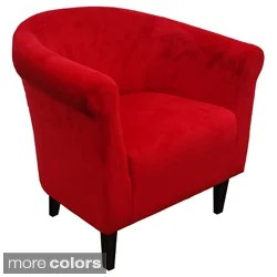 linon cozy bright red padded button tufted lounge chair 15890234