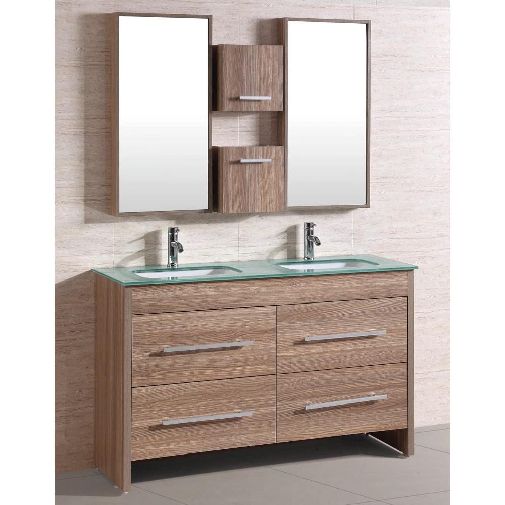 natural glass top 54 inch double sink bathroom vanity set