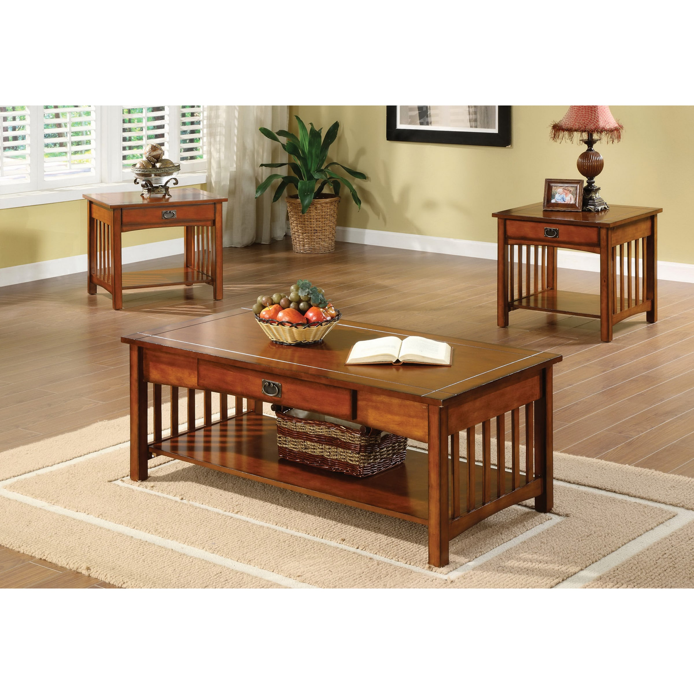 Furniture Of America Nash Mission Oak 3 Piece Accent Tables Set