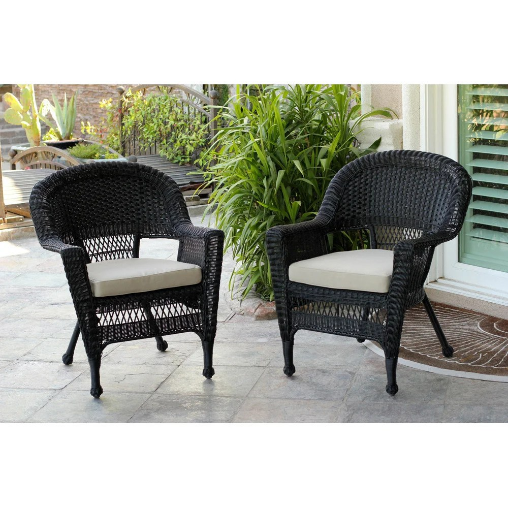 black wicker chair set of 2