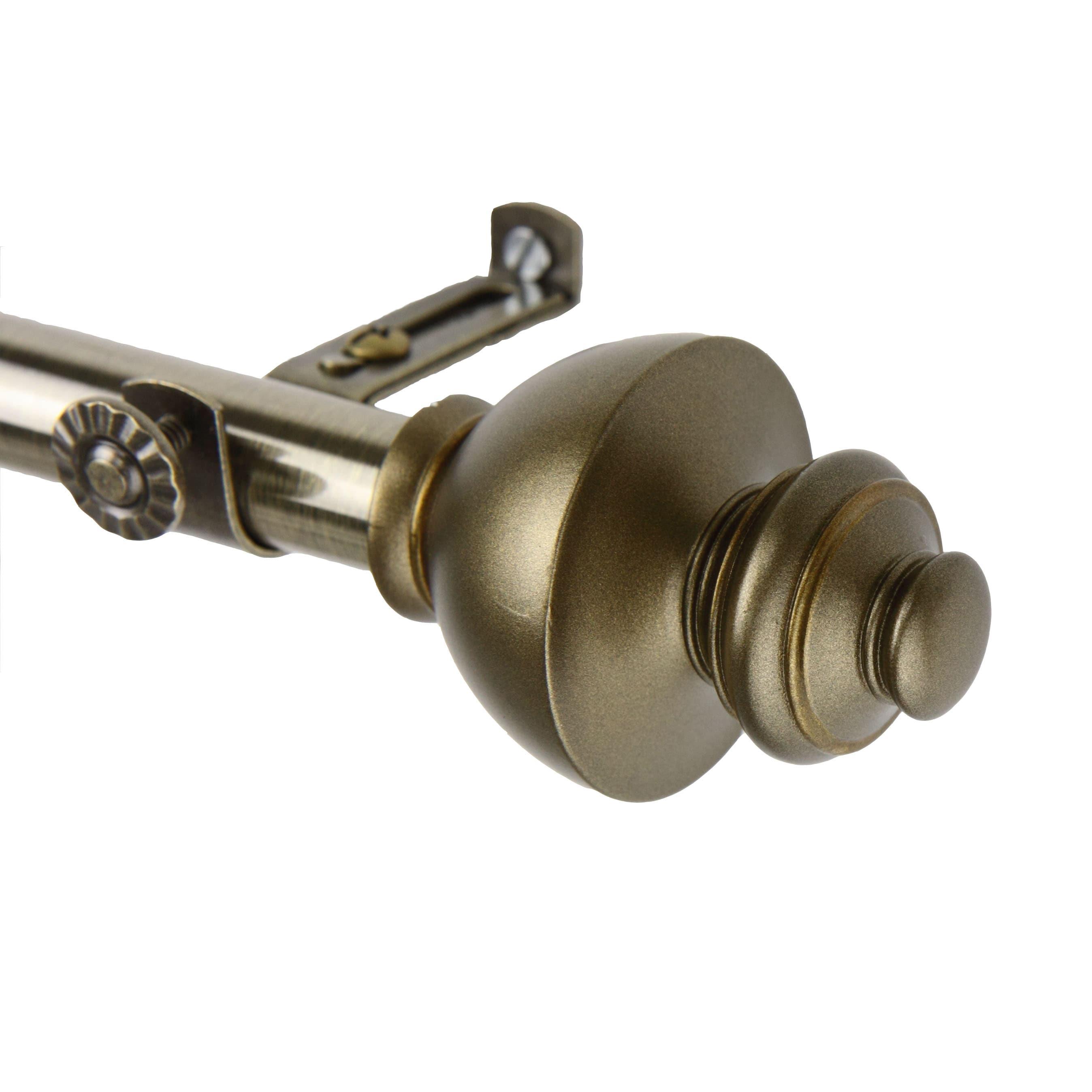 instyledesign monarch adjustable antique brass curtain rod set
