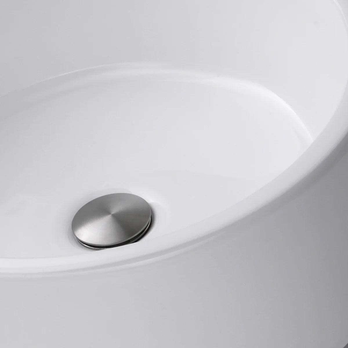 highpoint collection white 16 inch round ceramic bathroom vessel sink