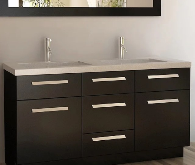 Shop Design Element Moscony Espresso 60 Inch Double Sink Vanity Set Free Shipping Today Overstock 8310780