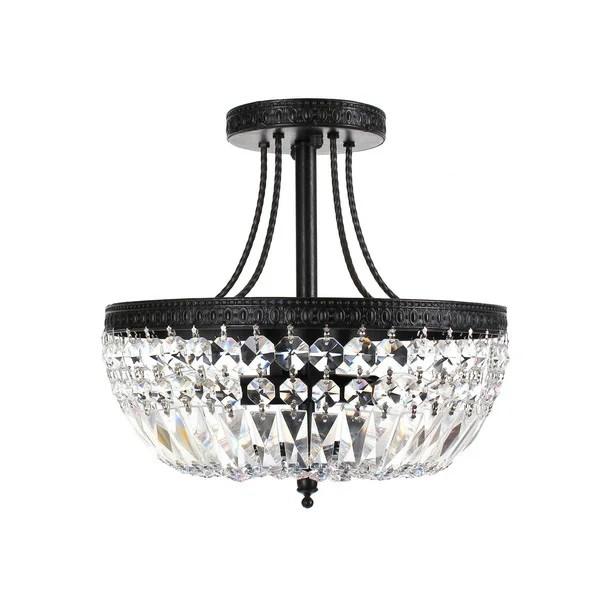 Jessica Crystal Basket 3 Light Antique Black Flush Mount Chandelier
