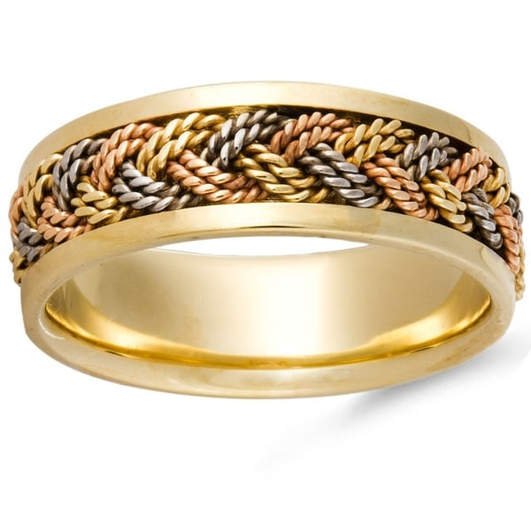 Shop 14k Tri Color Gold Handmade Woven Comfort Fit Wedding