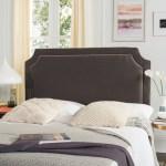 Safavieh Dane Charcoal Grey Light Grey Piping Linen Upholstered Headboard Queen On Sale Overstock 8343916