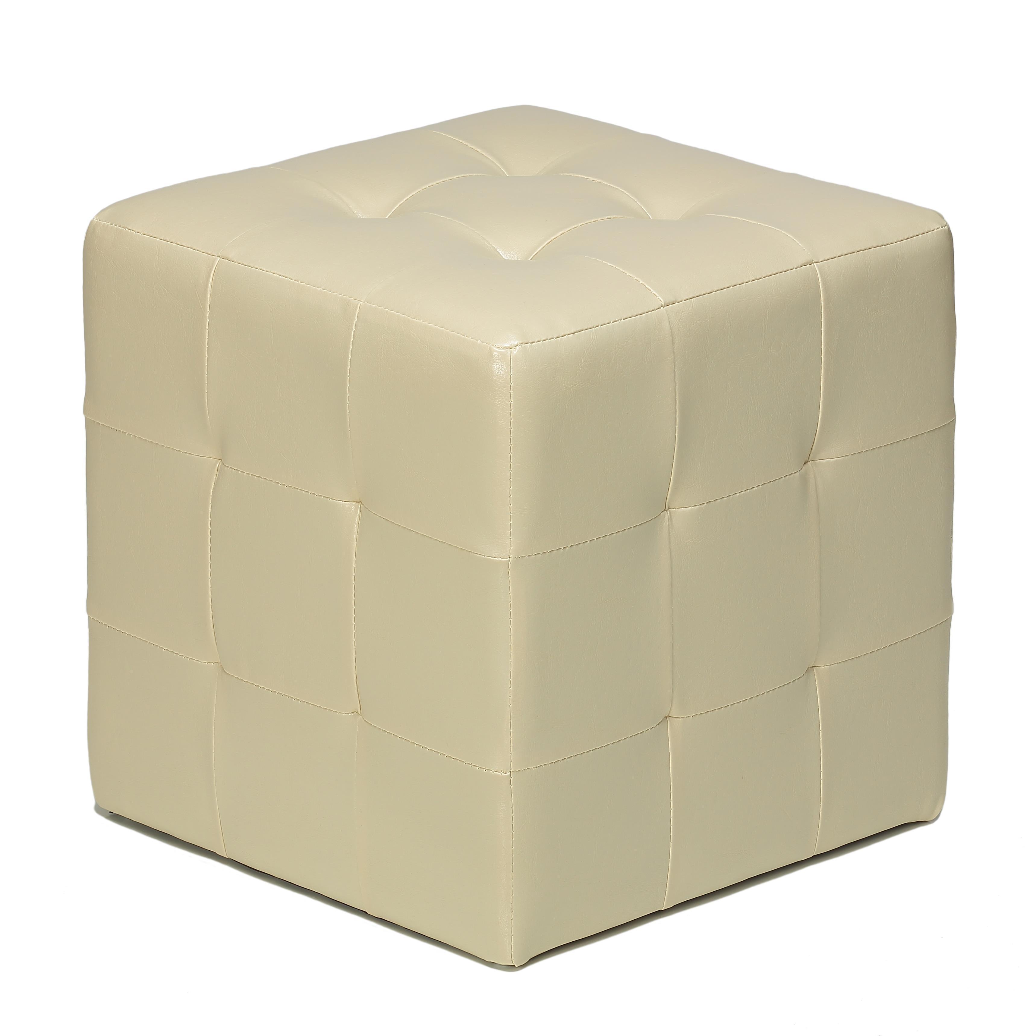 porch den brinwood ivory faux leather cube ottoman