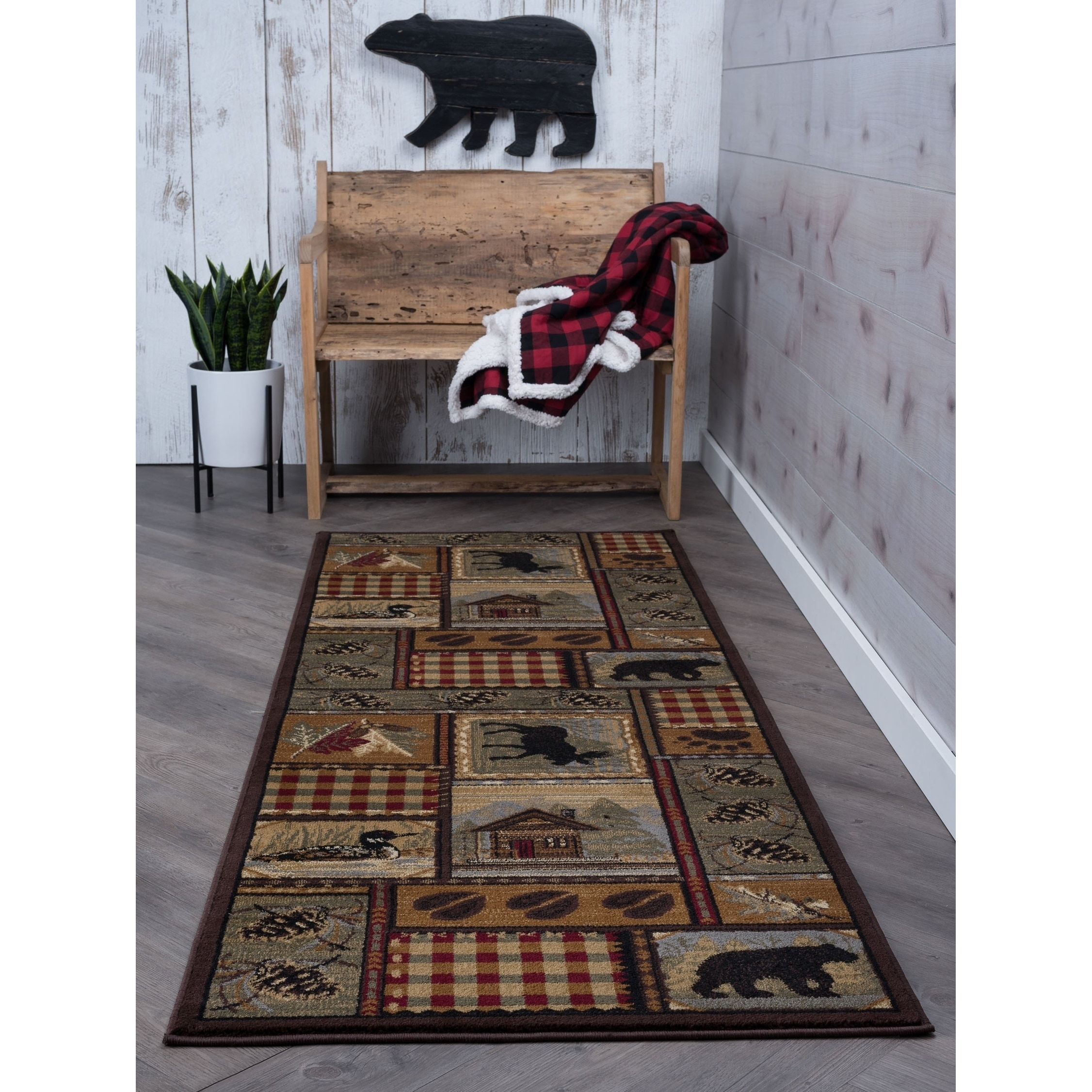 Details About Area Rug Runner Bear Pine Cone Cabin Lodge Living Room Decor Carpet 2 7x7 3 New