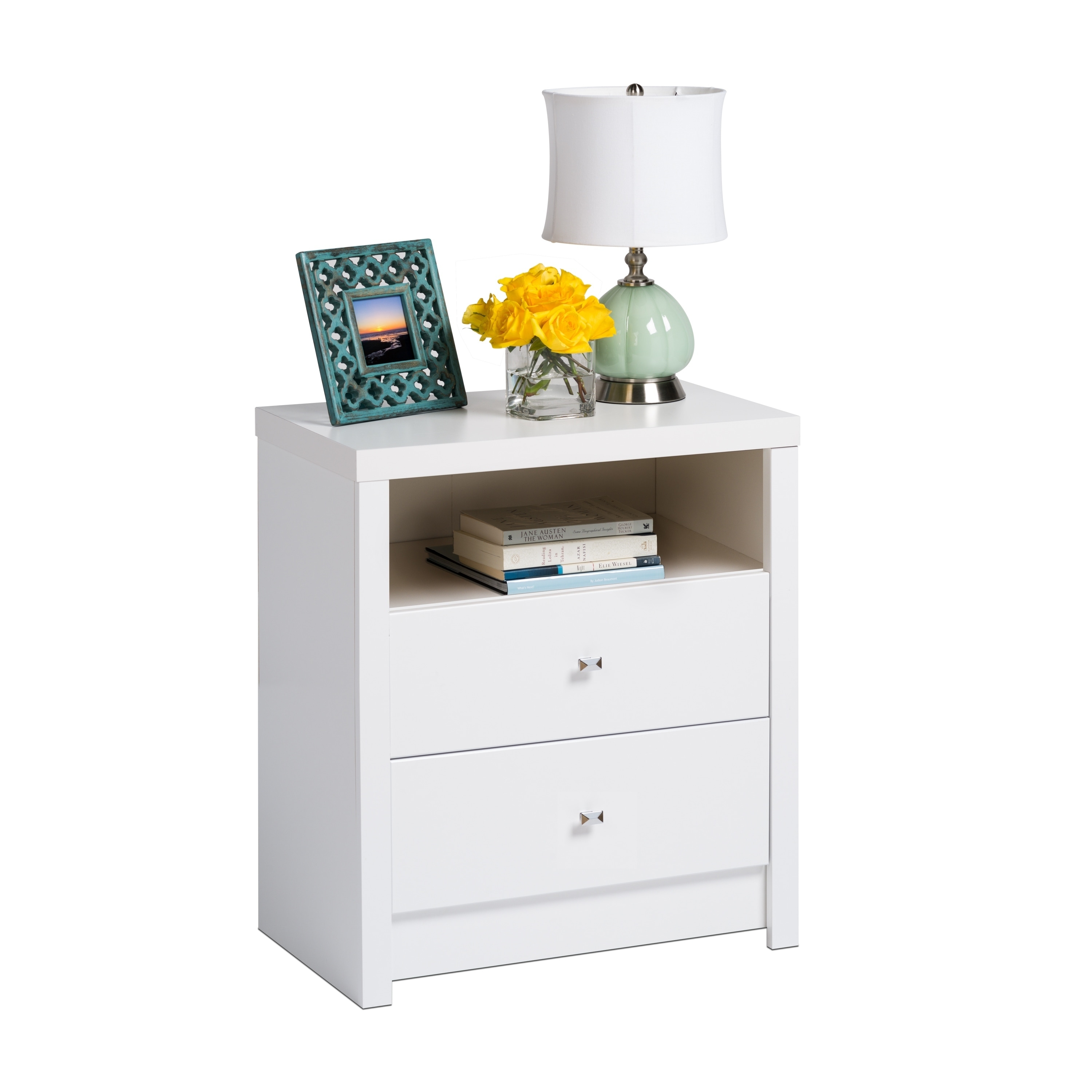Porch Den Flanders Pure White Tall 2 Drawer Nightstand