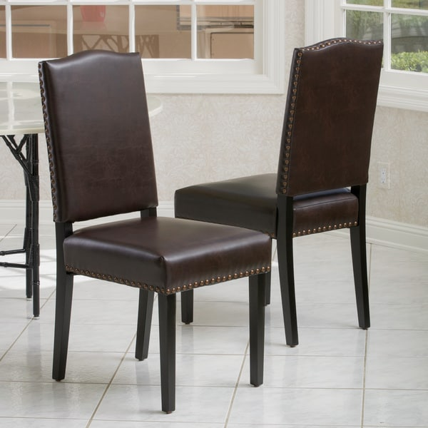 Brown Leather Dining Chairs Set Of 2 Novocom Top