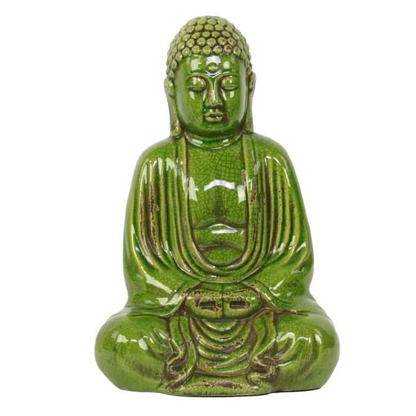 Shop Green Ceramic Sitting Buddha Free Shipping Today