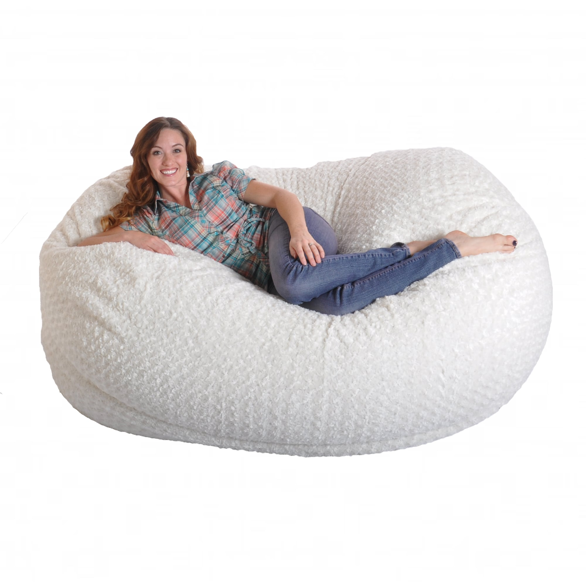 Shop 6 Foot Soft White Fur Large Oval Microfiber Memory Foam Bean Bag Chair On Sale Overstock 8502975