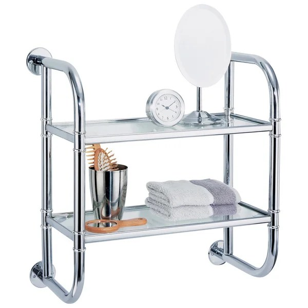 wall mounting chrome finish 2-tier bath shelf - free shipping on
