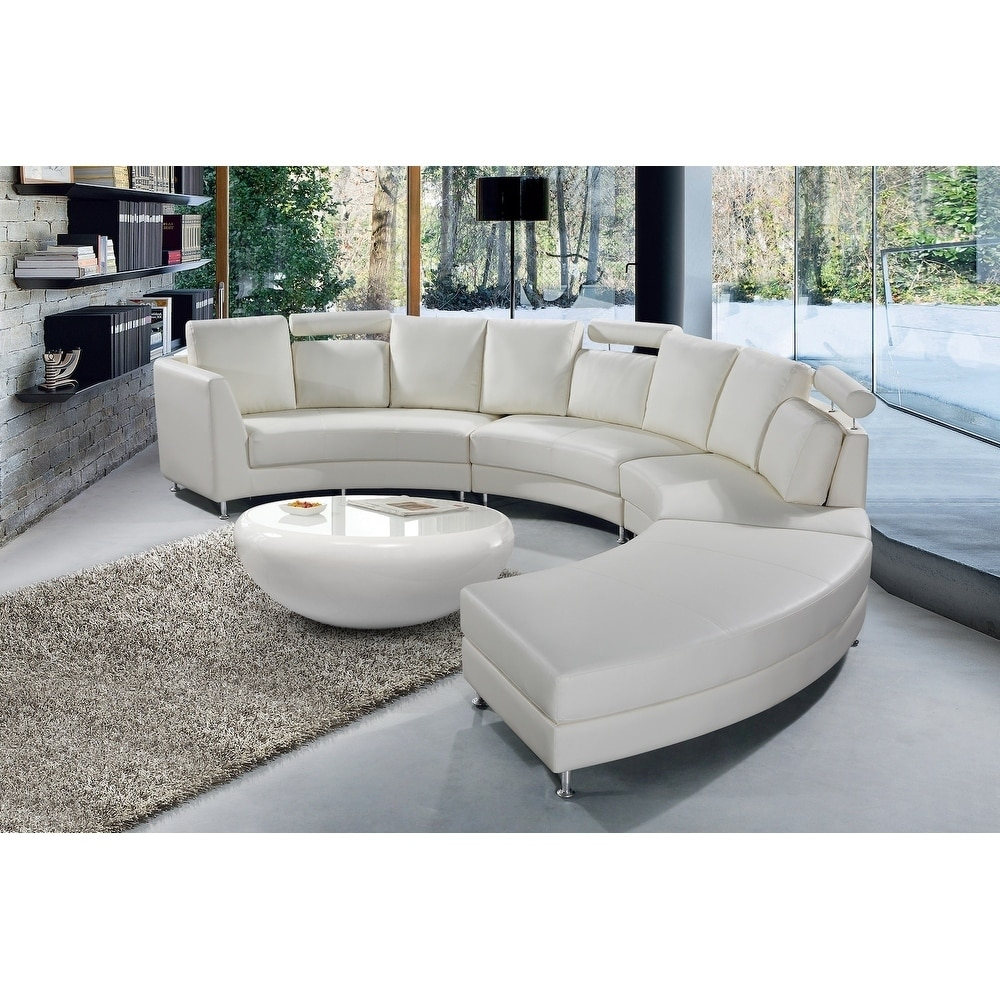 modern white leather circular sofa rossini