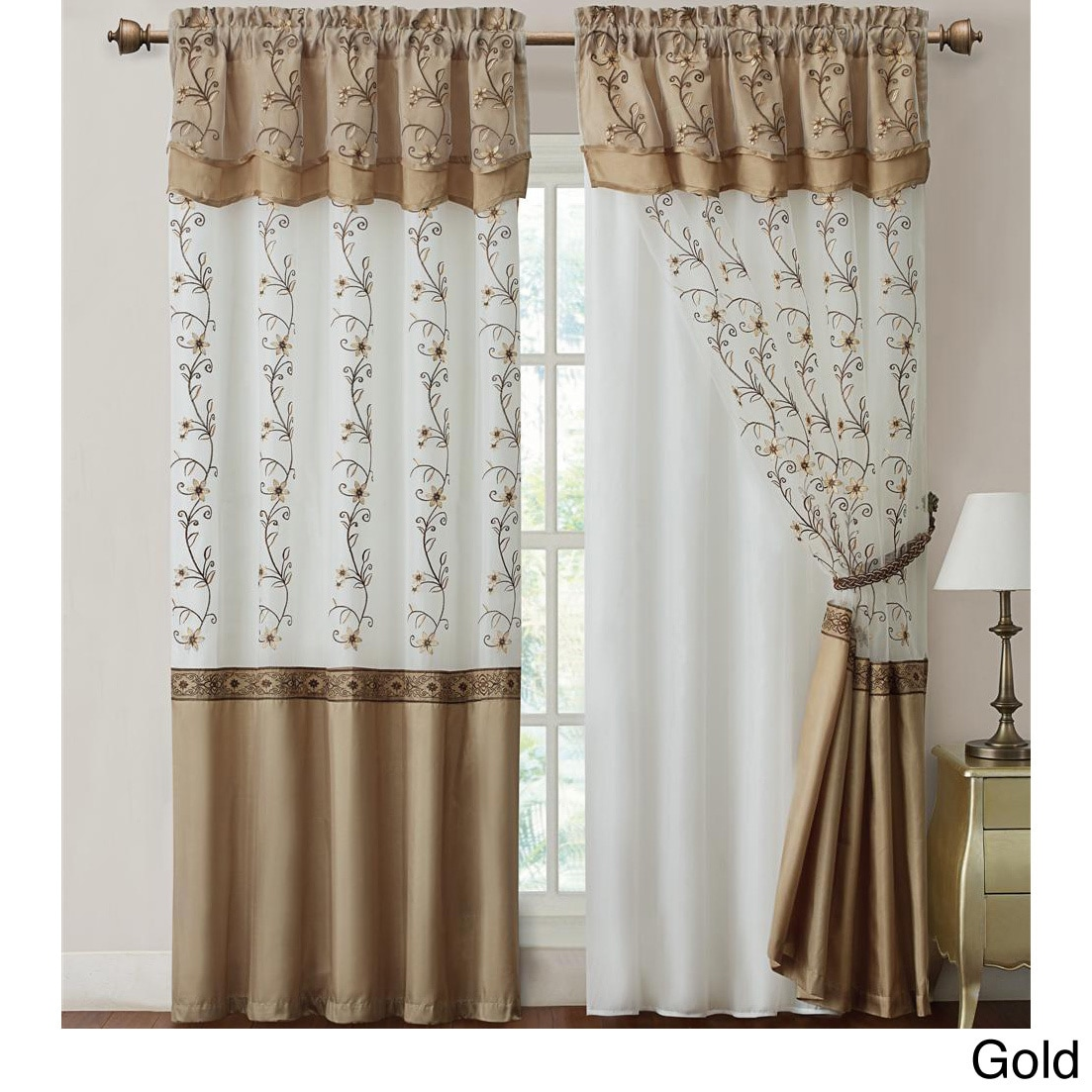 Daphne Embroidered 84 Inch Curtain Panel With Attached