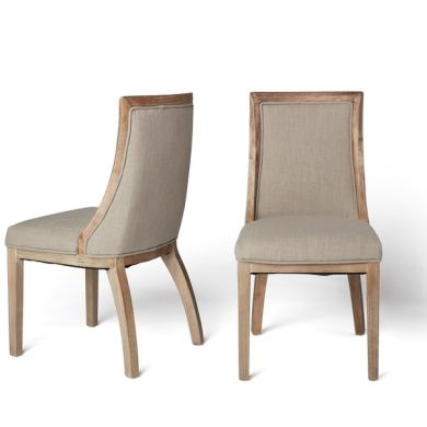 Shop Stones   Stripes Park Avenue Beige Linen Dining Chairs  Set of     Stones  amp  Stripes Park Avenue Beige Linen Dining Chairs  Set