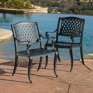 sale christopher knight home hallandale black sand cast aluminum outdoor chairs set of 2 maonsvier9bc