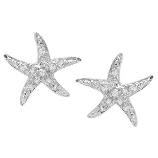 Sterling Silver Round Cut Cubic Zirconia Starfish Earrings