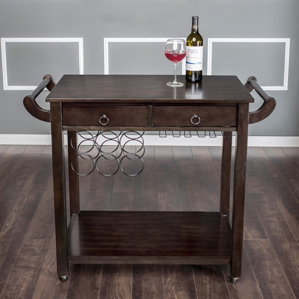 America Dark Walnut Vintage Kitchen Cart Wine Rack Wheels