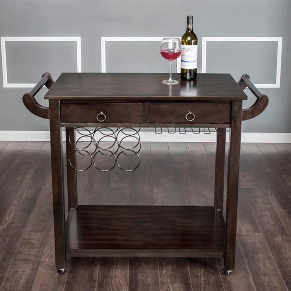 America Dark Walnut Vintage Kitchen Cart Wine Rack Wheels