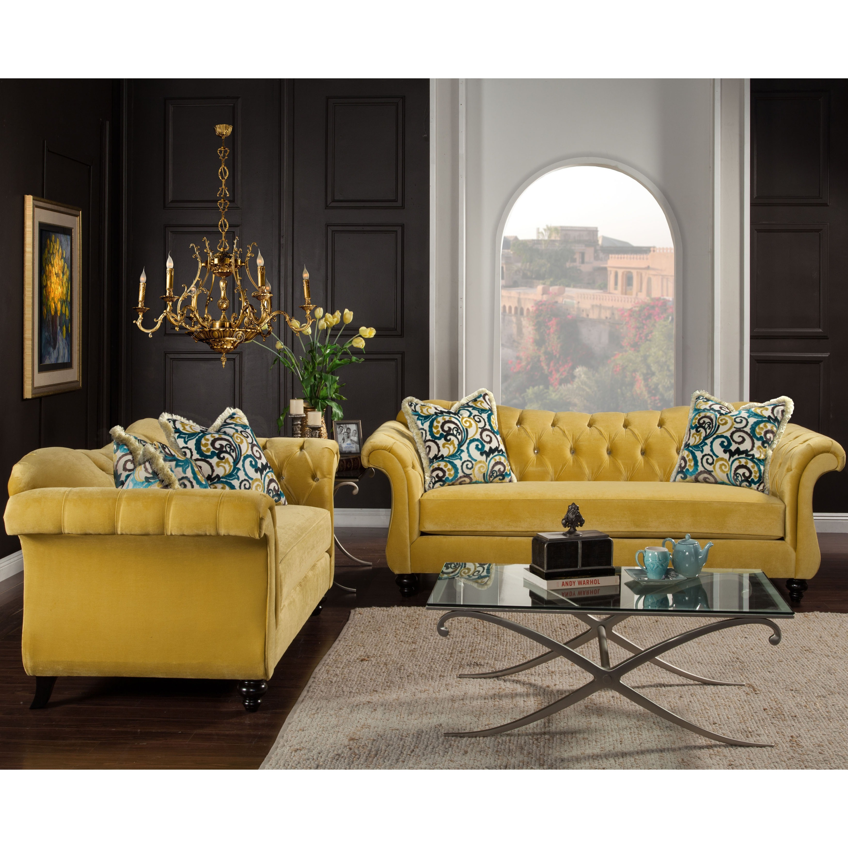 Furniture Of America Perm Traditional Velvet Tufted 2 Piece Sofa Set On Sale Overstock 8876256