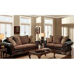 Furniture Of America Lyer Vintage Brown 2 Piece Sofa And Loveseat Set