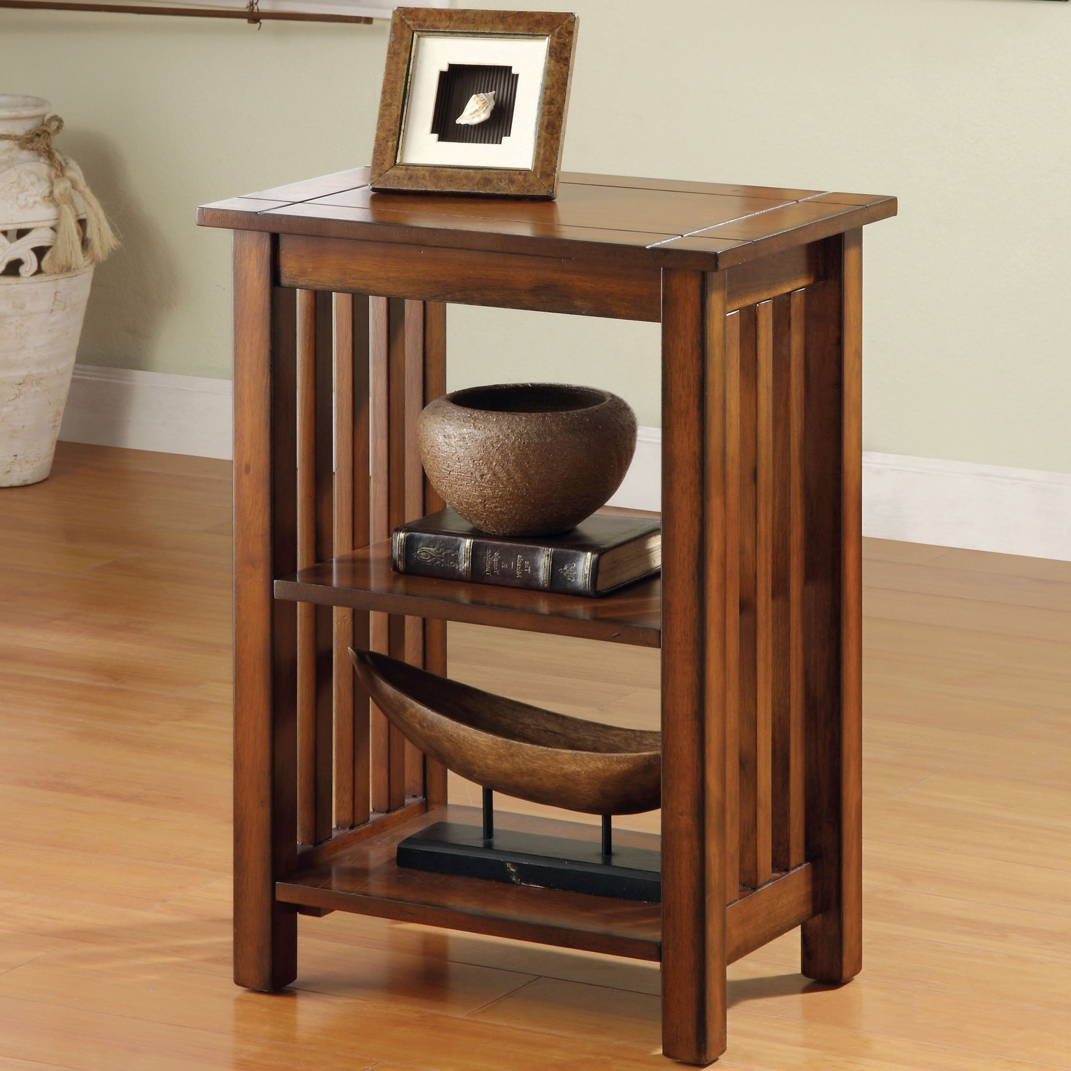 Furniture Of America Miff Mission Oak Solid Wood 2 Shelf End Table