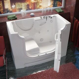 Shop MediTub Wheelchair Accessible 29x53 Inch Left Drain White Soaking Walk In Bathtub On Sale