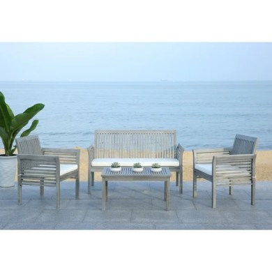Shop Safavieh Carson Grey Wash Acacia Wood 4 piece Outdoor Furniture     Safavieh Carson Grey Wash Acacia Wood 4 piece Outdoor Furniture Set